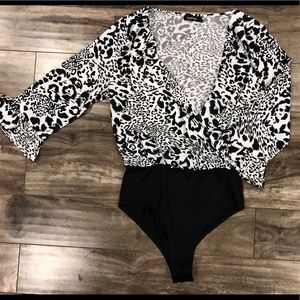 Black and White Cheetah print bodysuit